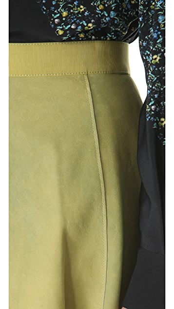 3.1 Phillip Lim Suede Flared Skirt