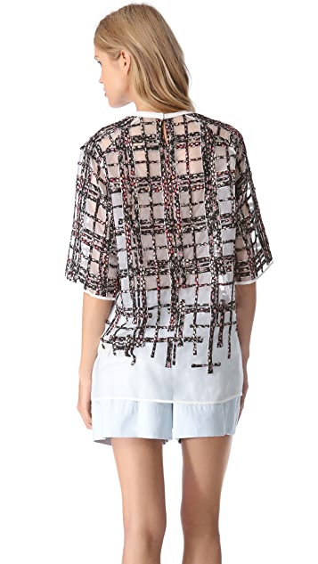 3.1 Phillip Lim Degrade Plaid Patchwork Tee
