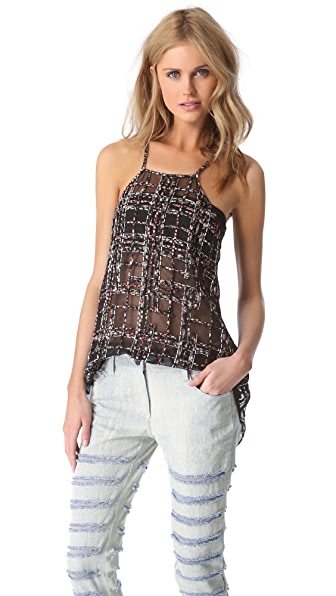 3.1 Phillip Lim Degrade Plaid Patchwork Apron Top