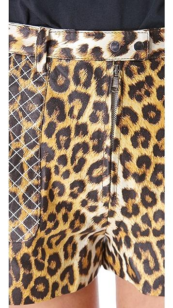 3.1 Phillip Lim Leopard Quilted Biker Shorts