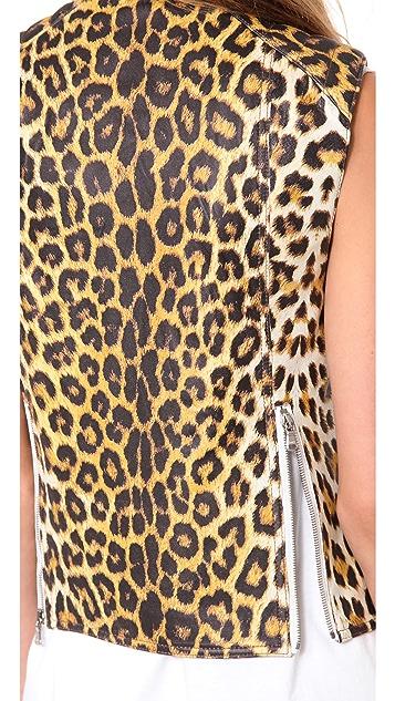 3.1 Phillip Lim Leather Leopard Biker Vest
