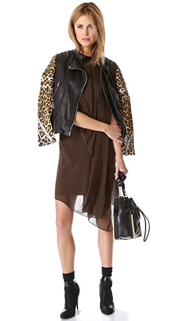 3.1 Phillip Lim Peplum Moto Jacket with Leopard Sleeves