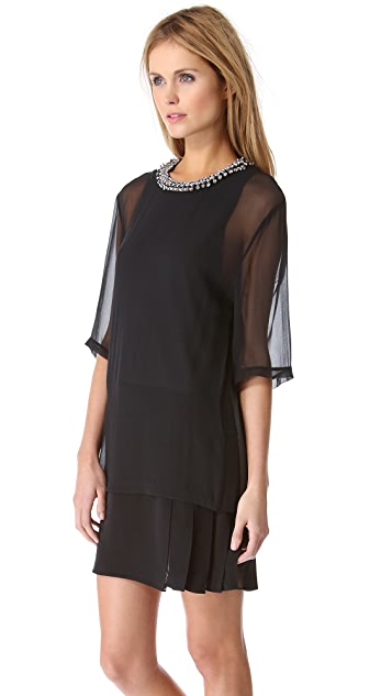 3.1 Phillip Lim Layered Tee Dress with Beaded Collar