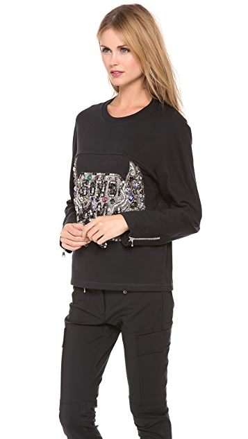 3.1 Phillip Lim Sculpted Gem Crest Sweatshirt