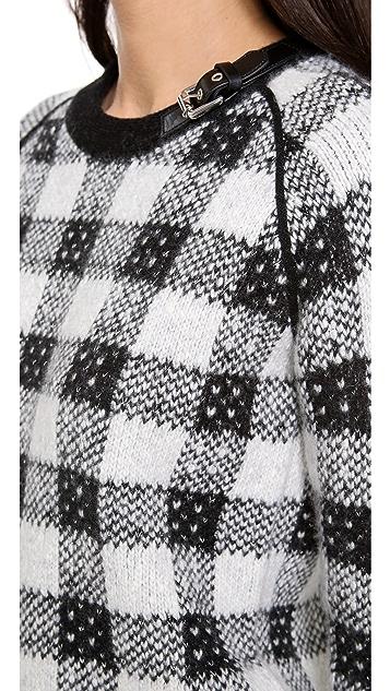 3.1 Phillip Lim Buckle Neck Plaid Sweater