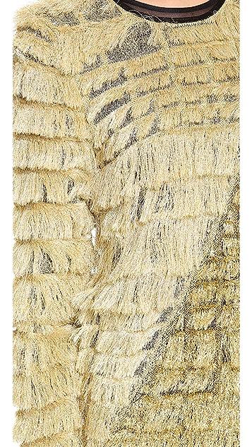 3.1 Phillip Lim Metallic Fringe Colorblock Pullover