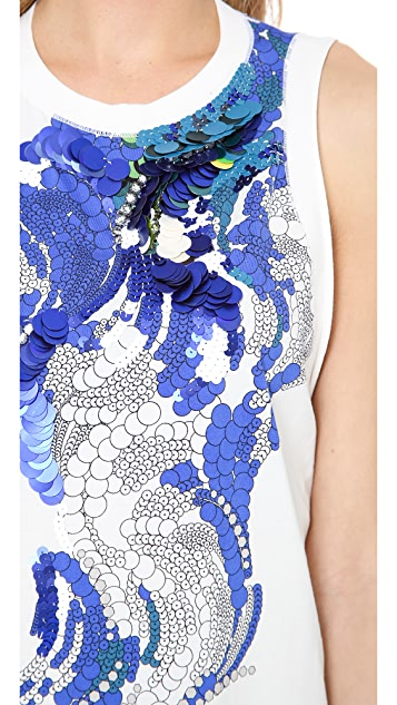 3.1 Phillip Lim Sequined Print Muscle Tank