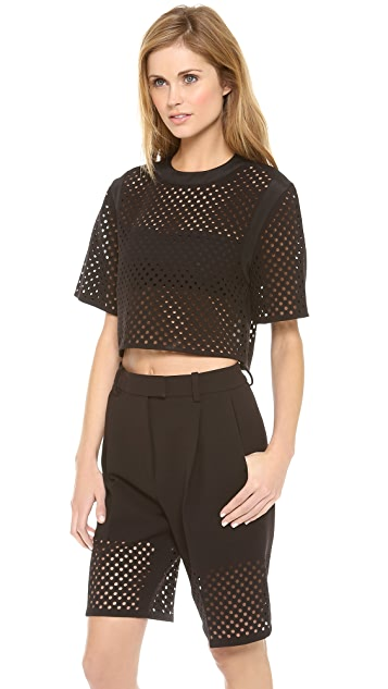 3.1 Phillip Lim Cropped Laser Cut Dot Blouse