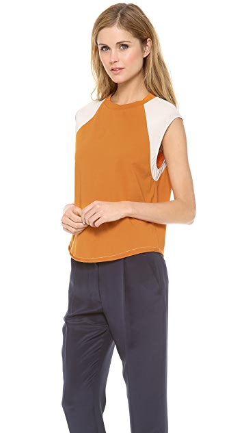 3.1 Phillip Lim Contrast Sleeve Baseball Top