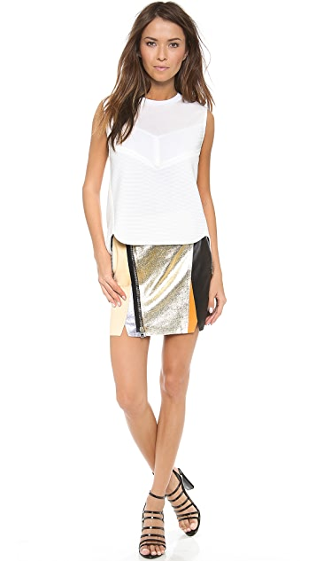 3.1 Phillip Lim Crossover Biker Leather Skirt