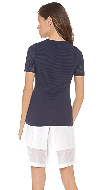 3.1 Phillip Lim Short Sleeve Pullover with Front Mesh Insert