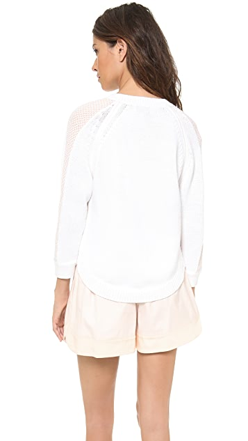 3.1 Phillip Lim Two Color Slit Shoulder V Neck Pullover