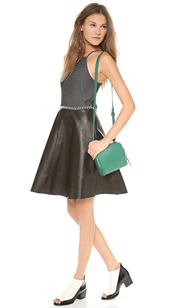 3.1 Phillip Lim Squared Grid Dress with Leather Skirt