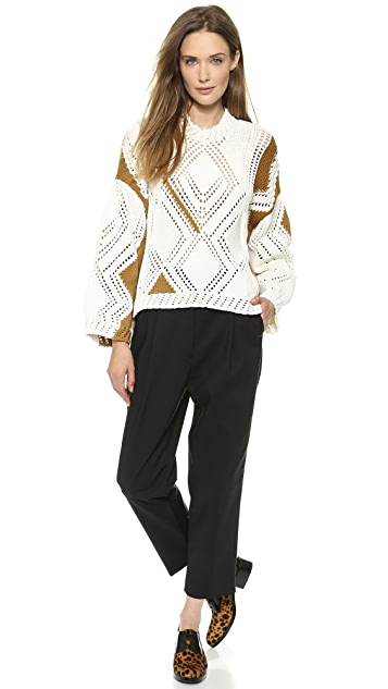 3.1 Phillip Lim Pointelle Cable Intarsia Pullover