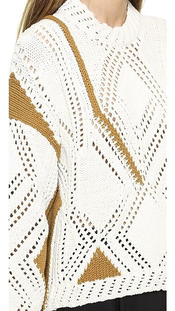 3.1 Phillip Lim Pointelle Cable Intarsia Pullover