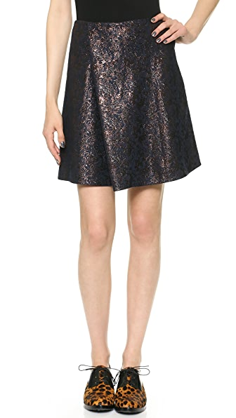 3.1 Phillip Lim Metallic Jacquard Pleat Skirt