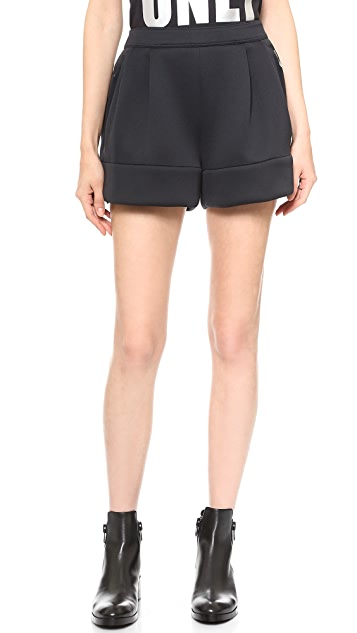 3.1 Phillip Lim Pleated Neoprene Shorts