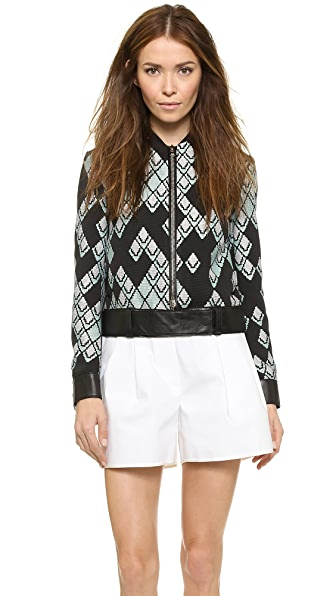 3.1 Phillip Lim Leather Trim Jacquard Jacket