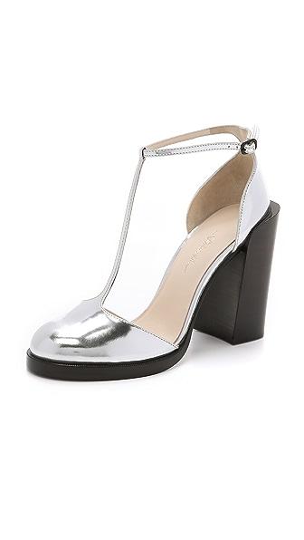 3.1 Phillip Lim Augustine T Strap Heels - Silver