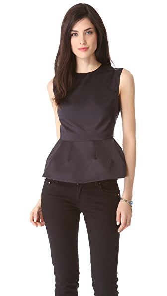 Pierre Balmain Satin Sleeveless Peplum Top