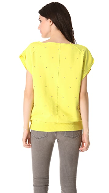 Pierre Balmain Short Sleeve Embellished Sweatshirt