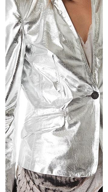 Pierre Balmain Fitted Leather Blazer