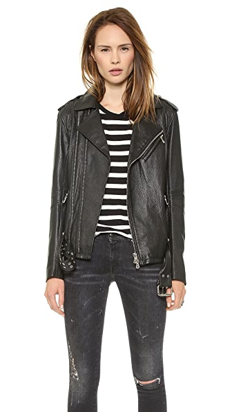 Pierre Balmain Belted Leather Moto Jacket