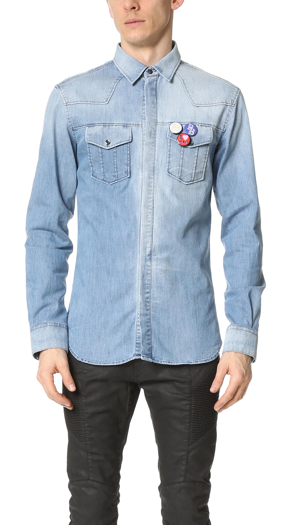9822ff601e Pierre Balmain Buttons Denim Shirt In Light Blue