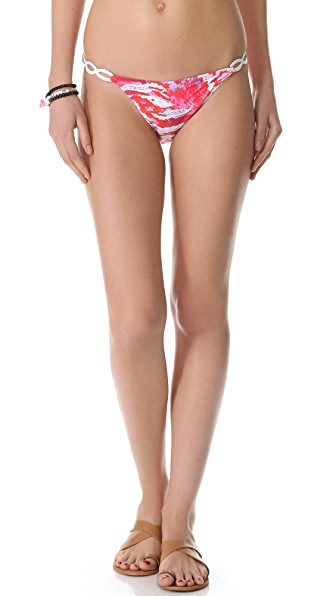 PilyQ Scarlet Serpentine Leather Loop Bikini Bottoms