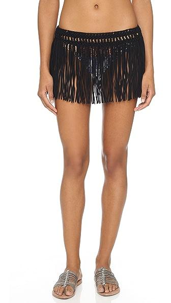 Pilyq African Rays Fringe Skirt - Black