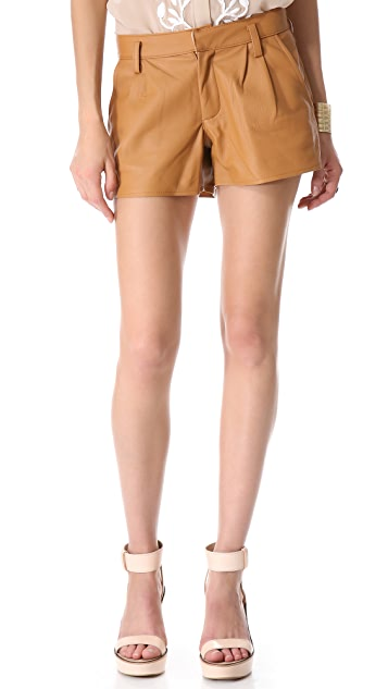 Piper Gore Scarlett Cognac Leather Shorts