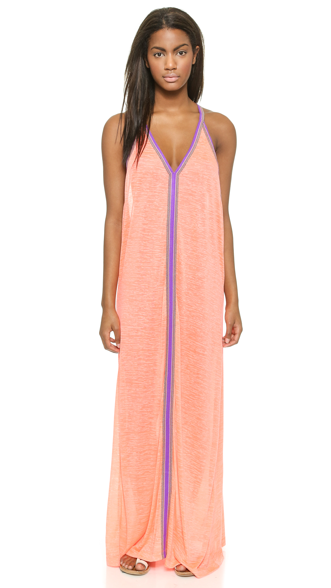 Pitusa Sun Maxi Dress - Coral