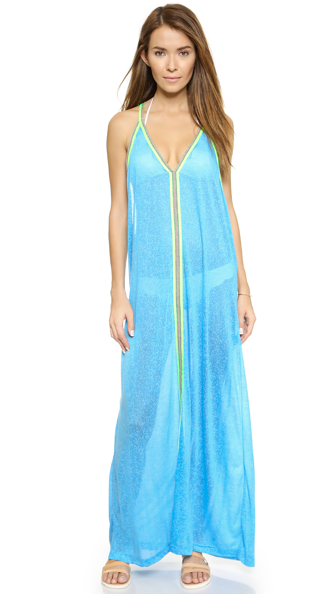 Pitusa Sun Maxi Dress - Blue