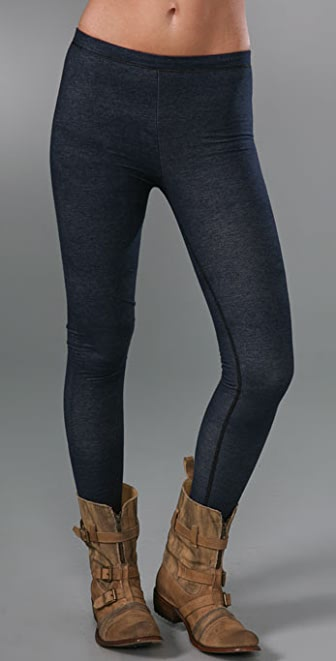 Plush Fleece Lined Denim Jersey Leggings