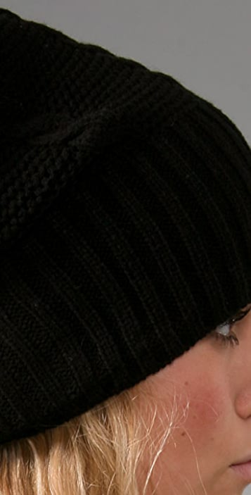 Plush Cable Knit Pom Pom Hat with Fleece Lining