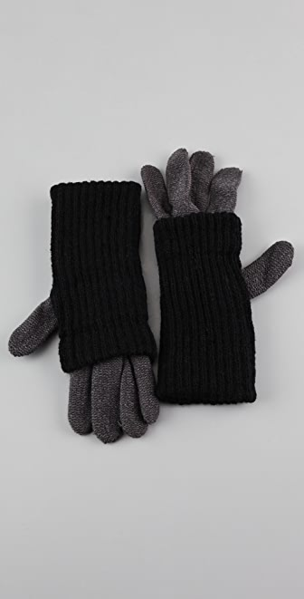 Plush Two Tone Covered Gloves