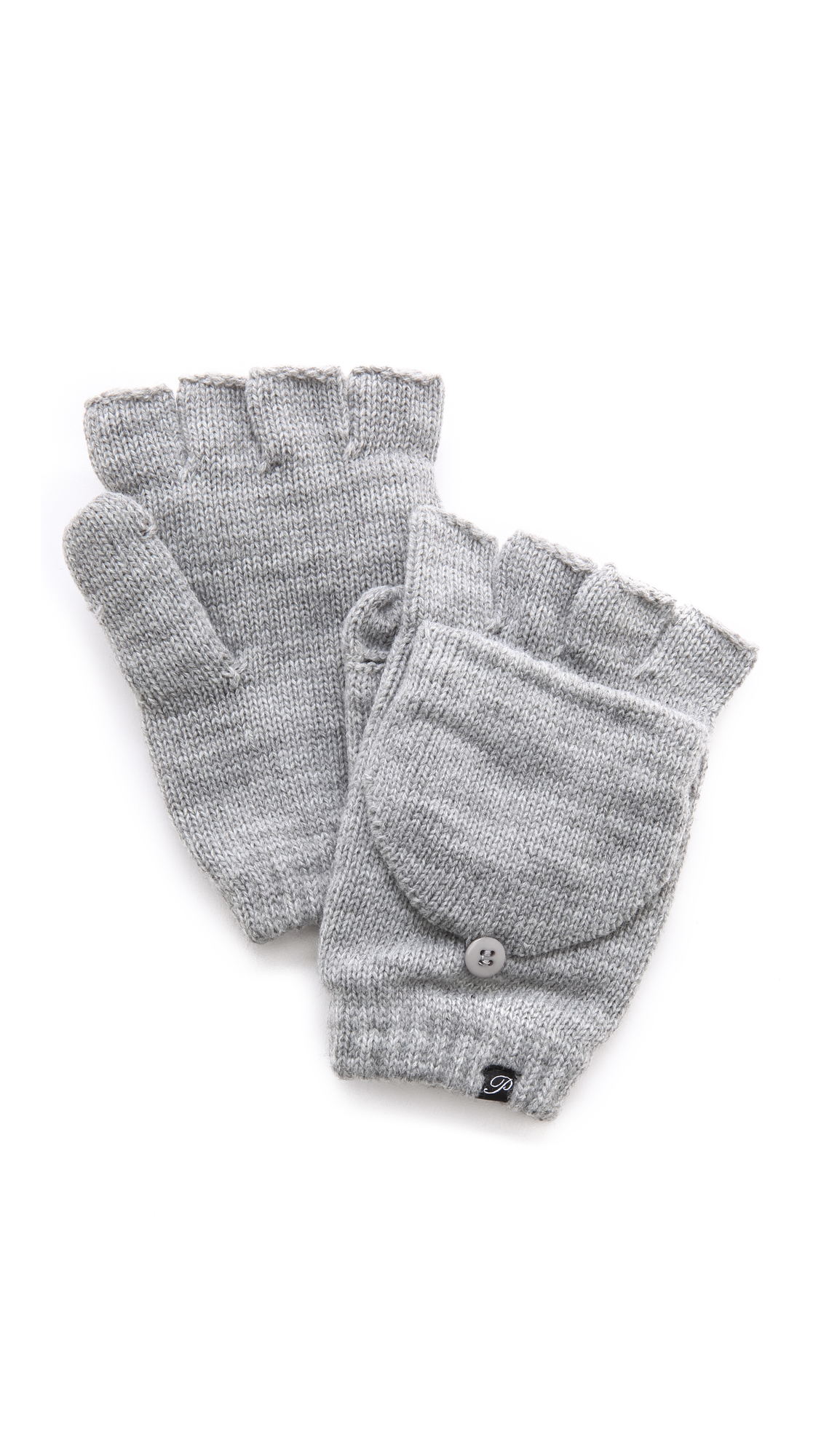 Plush Fleece Lined Texting Mittens - Heather Grey