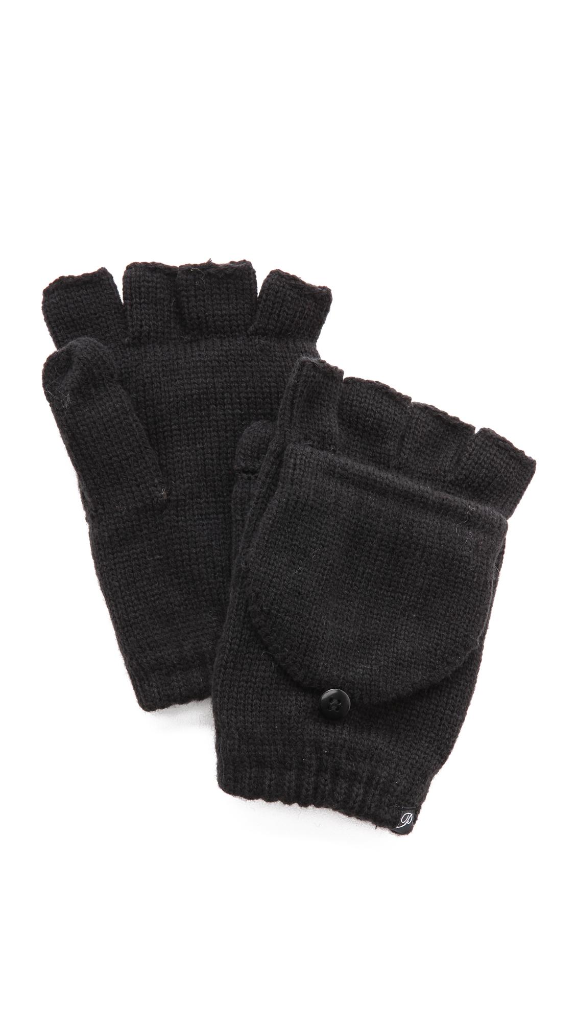 Plush Fleece Lined Texting Mittens - Black