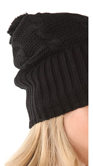 Plush Cable Knit Pom Pom Hat