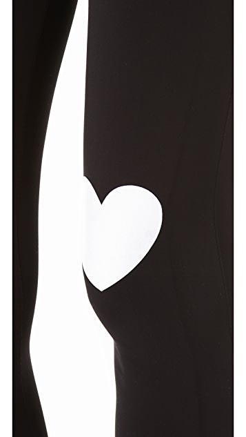 Plush Heart Print Leggings