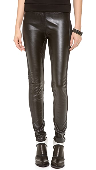 Plush Faux Leather Paneled Leggings