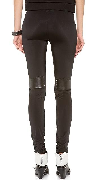 Plush Faux Leather Paneled Leggings