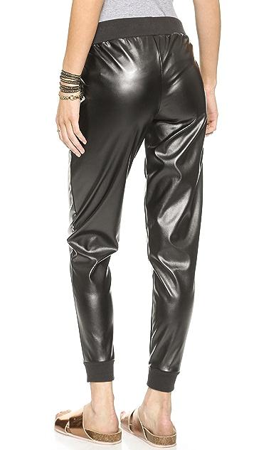 Plush Faux Leather Jogger Pants