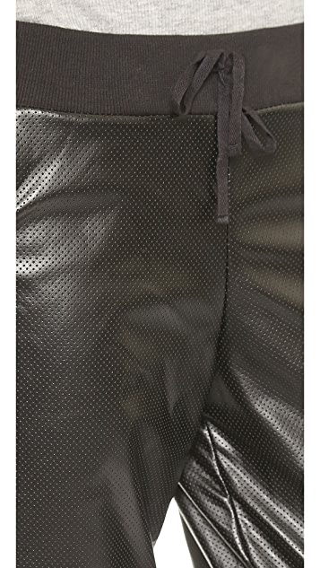 Plush Perforated Faux Leather Pants