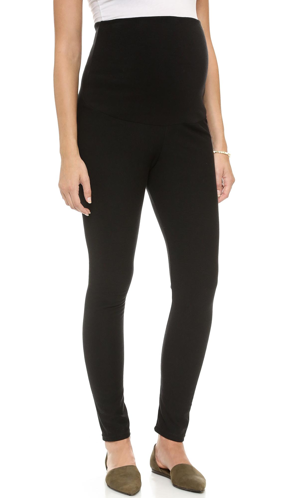 Plush Fleece Lined Maternity Leggings - Black