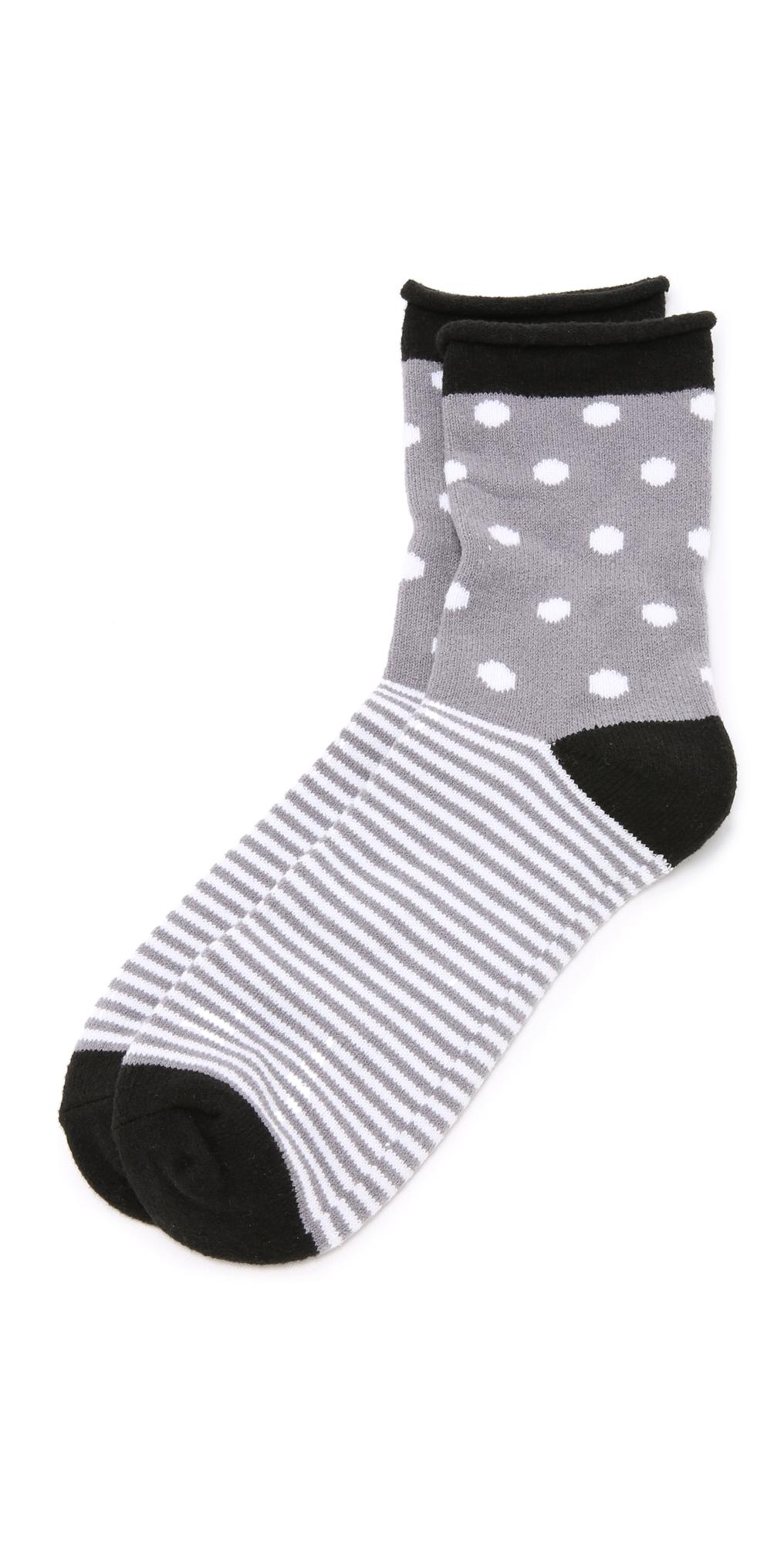 Dot Stripe Rolled Fleece Socks Plush
