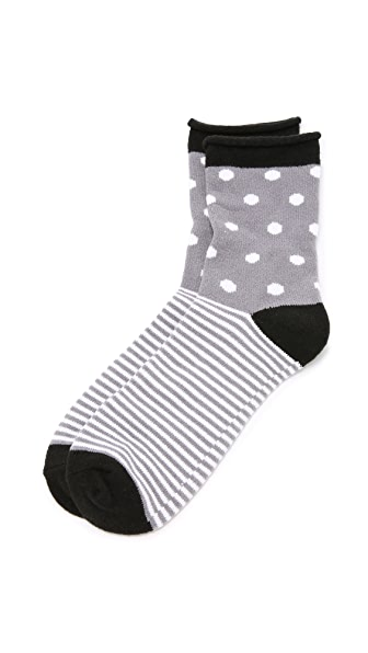 Plush Dot Stripe Rolled Fleece Socks In Charcoal