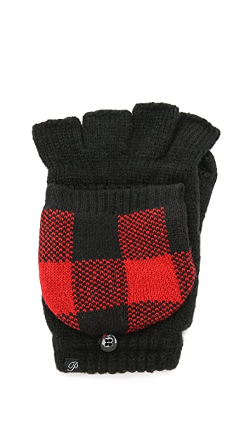 Plush Fleece Lined Plaid Texting Mittens