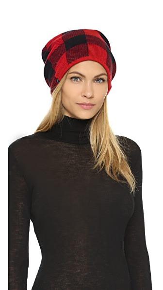 Plush Fleece Lined Plaid Beanie