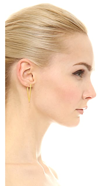 Paige Novick Claire Collection Small V Earrings with Crystals